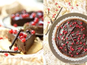 Шоколадный торт с ганашем и красной смородиной